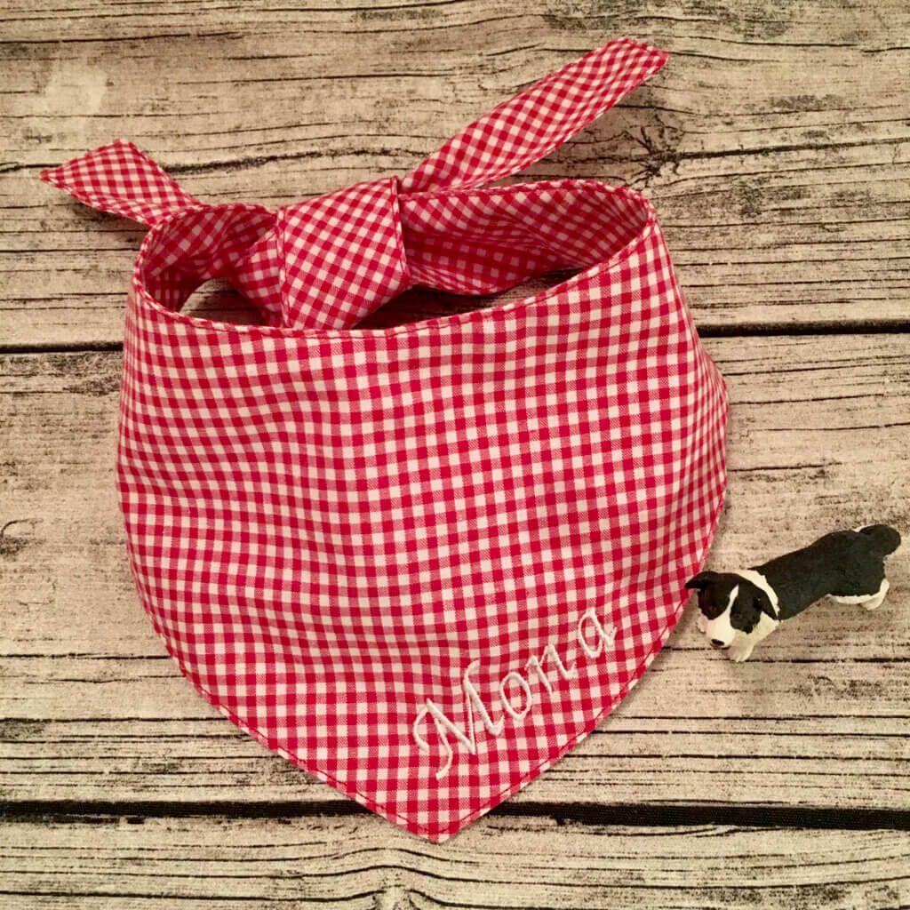 Hundehalstuch einfach schick: Minikaros rot weiß